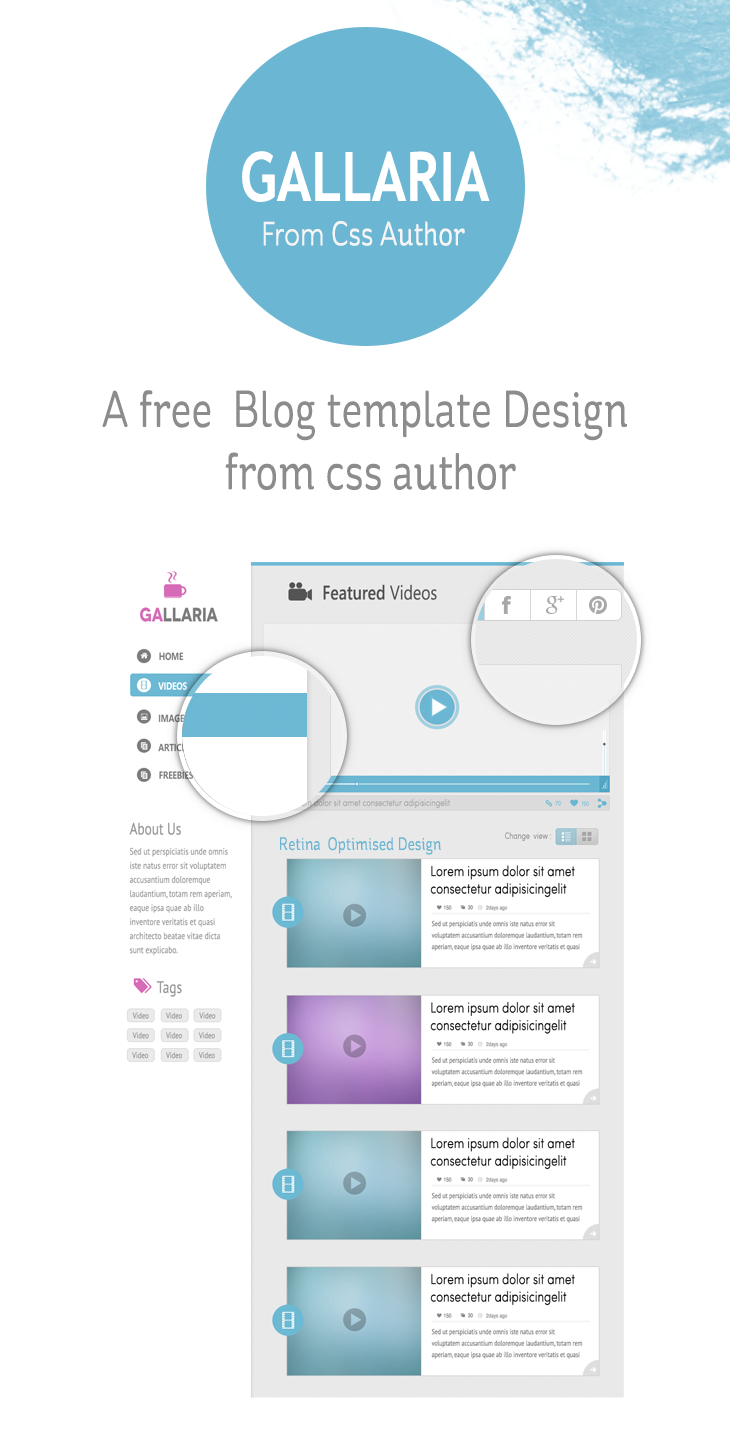 gallaria - free blog template design from css author - freebie no, Powerpoint templates