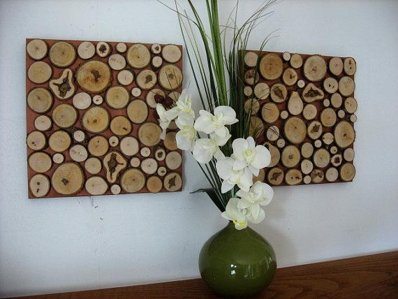 11x11 Set Rustic Wood Slice Wall Art Sculpture by ModernRusticArt
