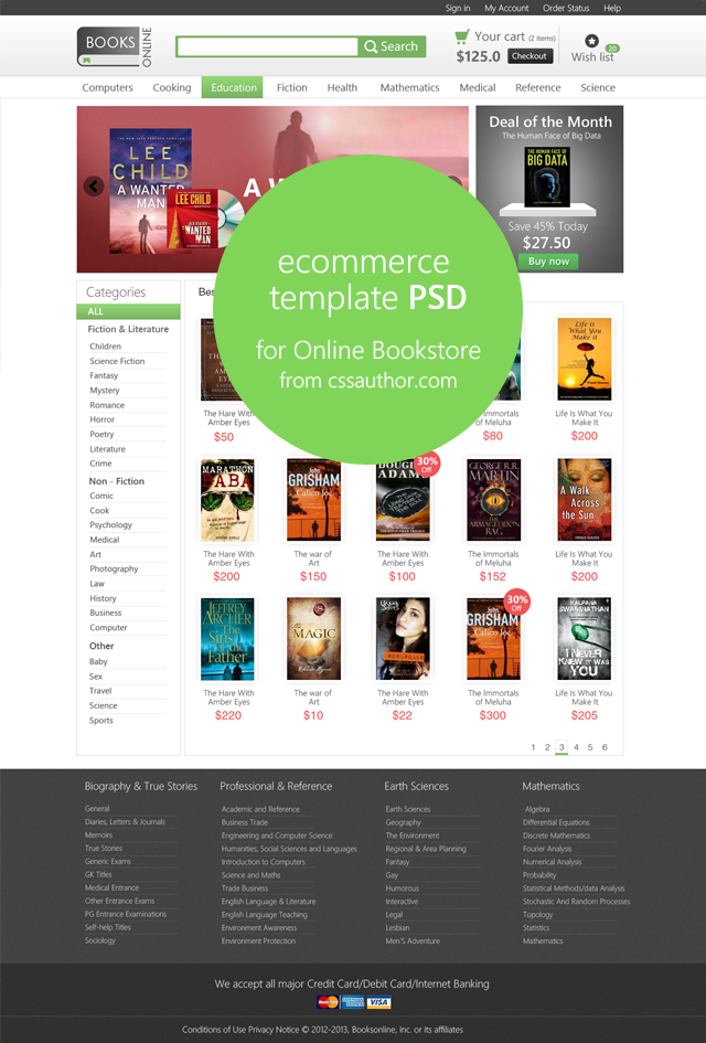 e-commerce template psd for online bookstore - freebie no: 68, Powerpoint templates