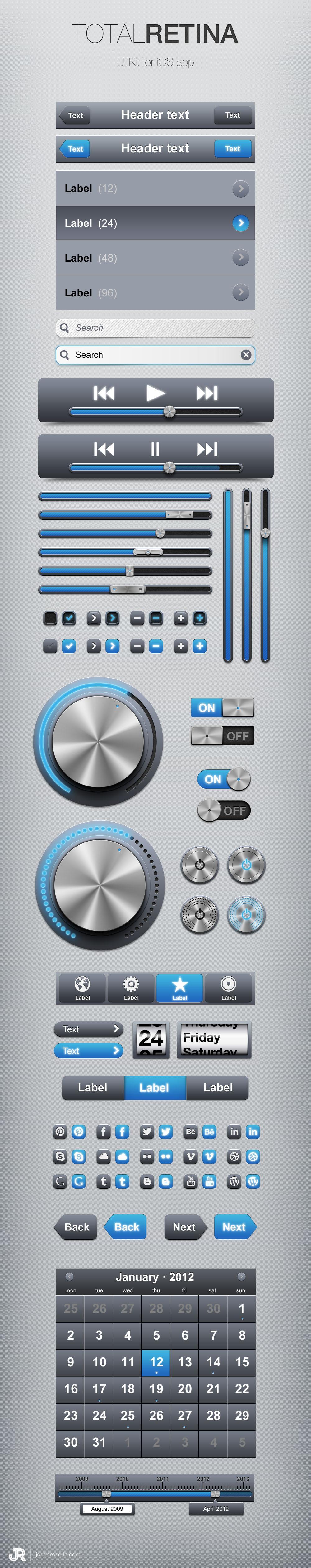 Total Retina UI Kit (PSD) - Designer First