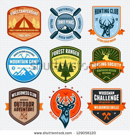 Set Of Outdoor Adventure Badges And Hunting Logo Emblems Stock Vector 129056120 : Shutterstock