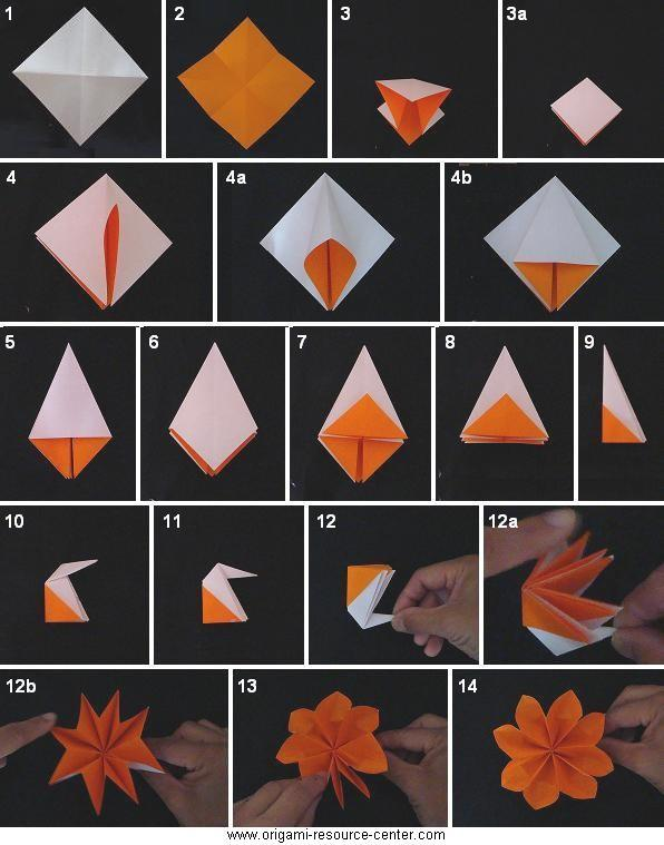 Origami Traditional Buttonhole Flower Folding Instructions | Origami ...