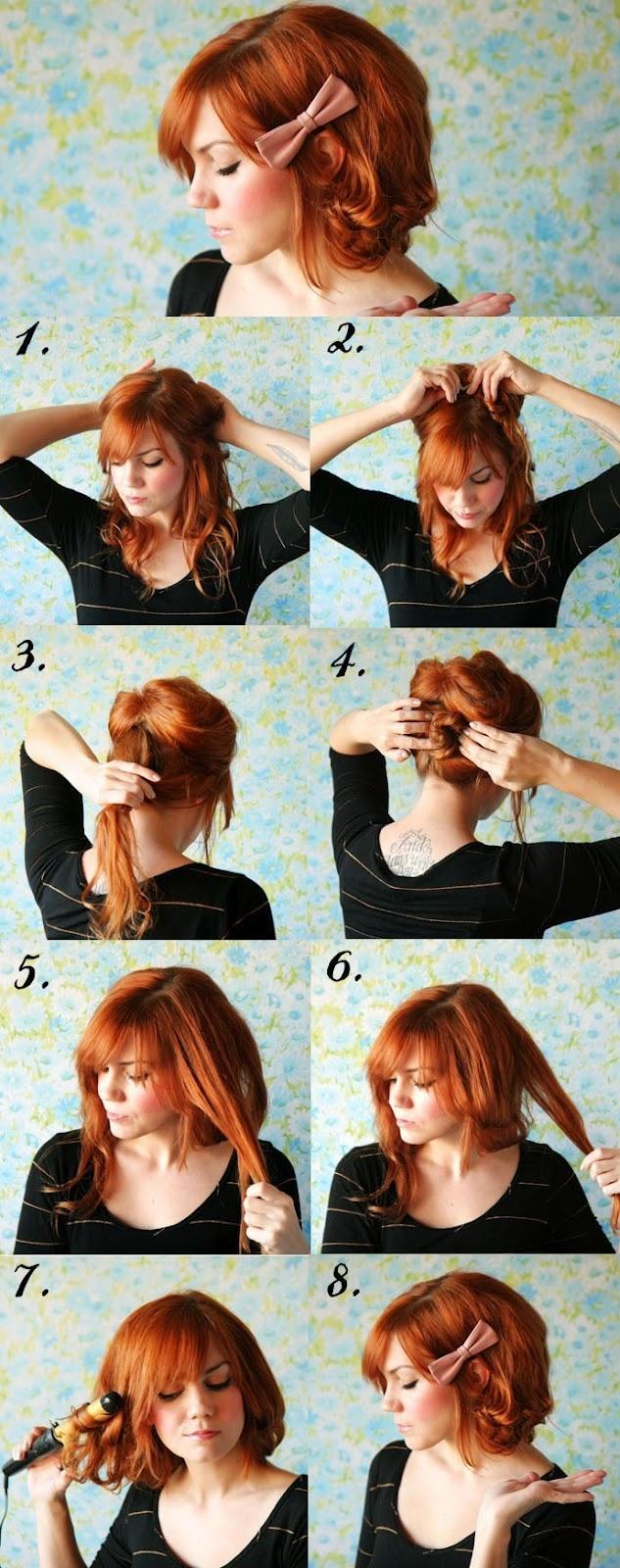 Прически на средний волос с челкой в домашних условиях фото