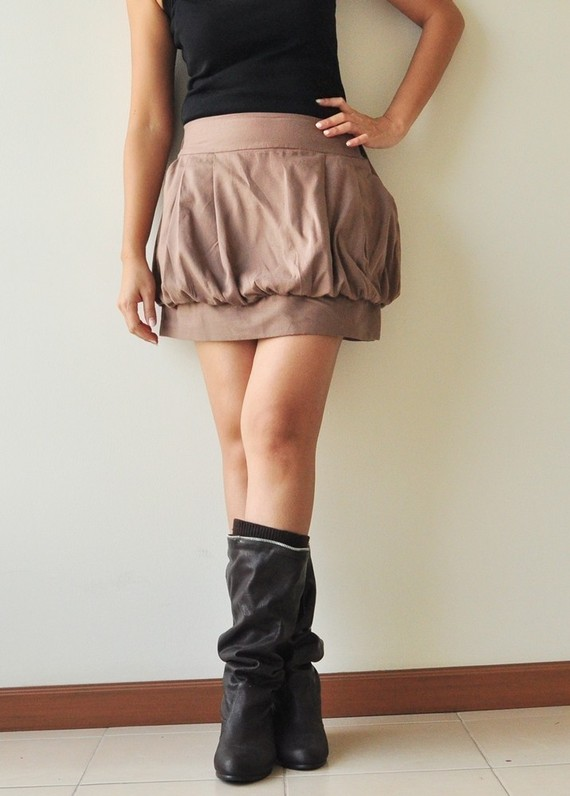 SALE 15 Tulip Brown Cotton Skirt 3 Sizes by aftershowershop
