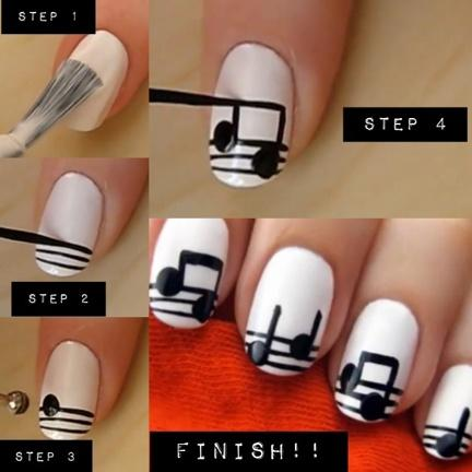 DIY Music Notes Nail Design Do It Yourself Fashion Tips | DIY Fashion  Projects - DIY Music Notes Nail Design Do It Yourself Fashion Tips DIY