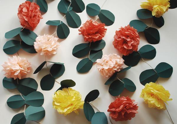 DIY Wedding Pom Pom Vines - Once Wed
