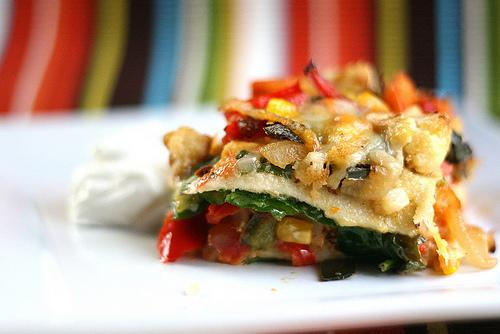 Perry's Plate » Stacked Roasted Vegetable Enchiladas