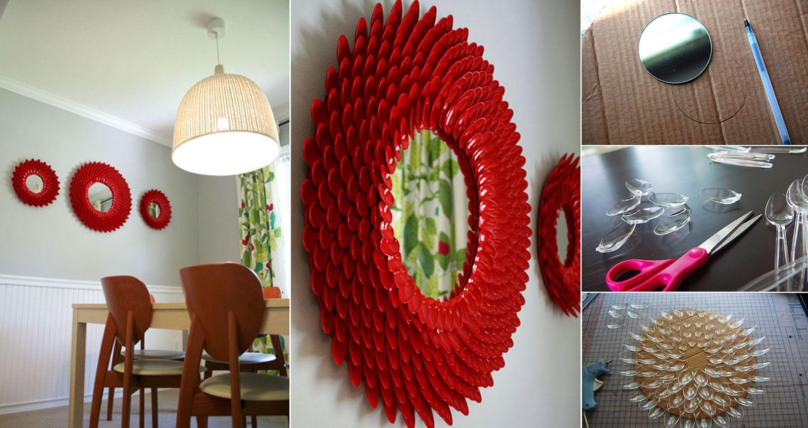 Diy plastic spoon chrysanthemum mirror diy projects for Diy plastic