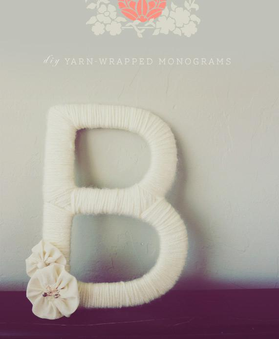 DIY Yarn WrappedMonograms - Home - Creature Comforts - daily inspiration, style, diy projects + freebies