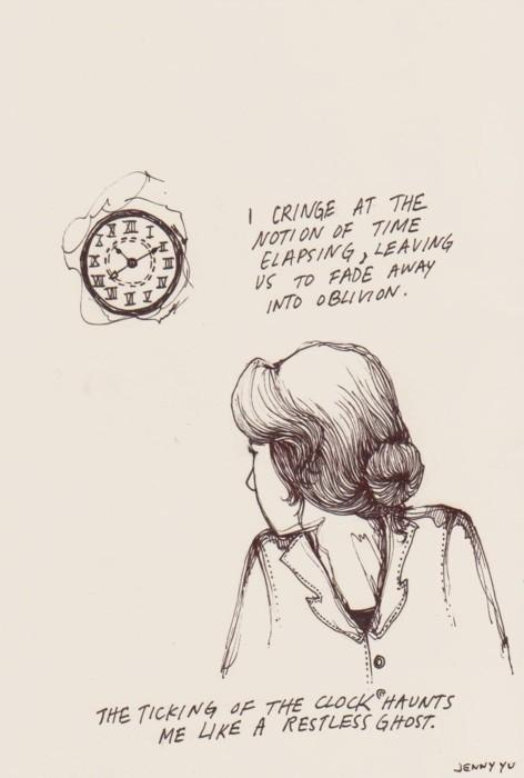 art, b_w, clock, drawing, girl - inspiring picture on Favim.com