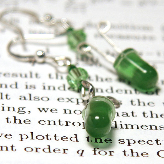 Sparkly Green Antique LED Earrings upcycled by GeekeryDOO on Etsy