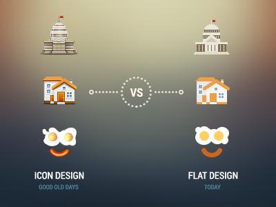 Icon design vs flat design by Egor Kosten