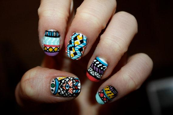 Tribal/Aztec Illuminati Nail Art Set of 24 by ZebberCollective