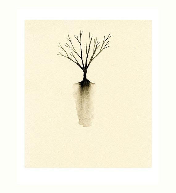 Little Tree Silhouette Art Print of Watercolor by LittleBeanPrints