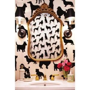 Lovely Home / dog wallpaper bathroom #lonny - Polyvore