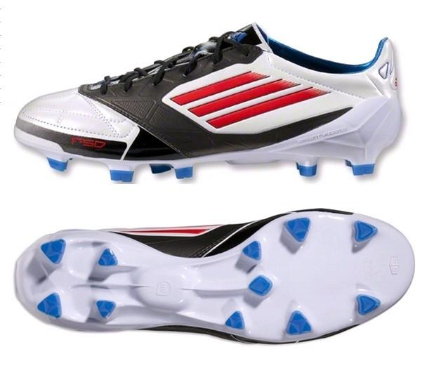 adidas F50 adiZero Leather TRX FG miCoach Soccer Cleats In White/Energy