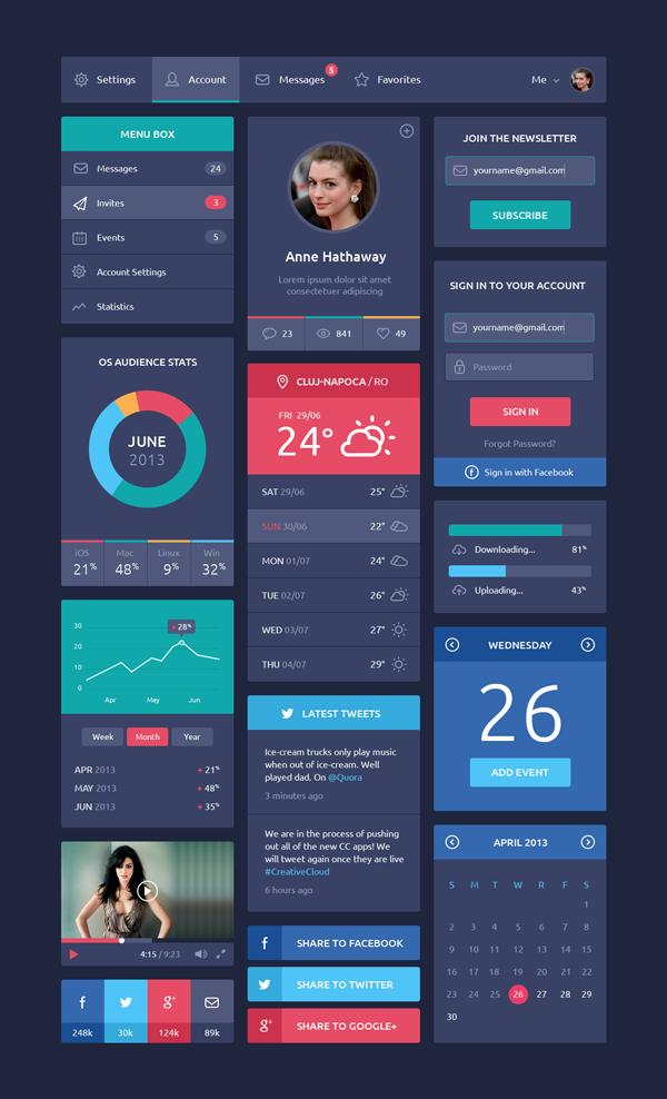 GraphicBurger » Flat Design UI Components