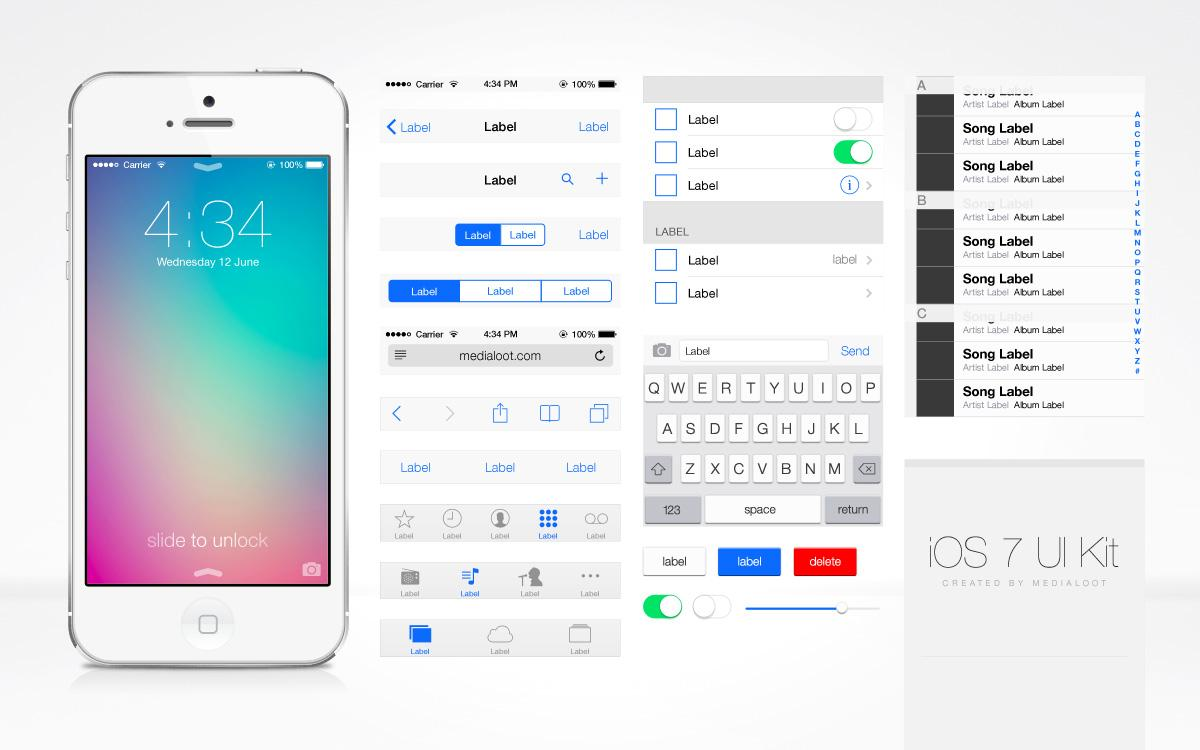 iOS 7 UI Kit (PSD) - Designer First