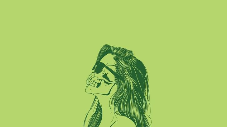 women skulls minimalistic vector simple background green background High Quality Wallpapers,High Definition Wallpapers