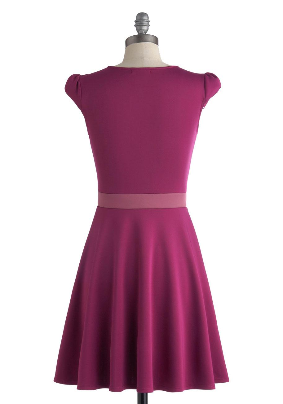Vivacious And Vibrant Dress In Magenta Mod Retro Vintage
