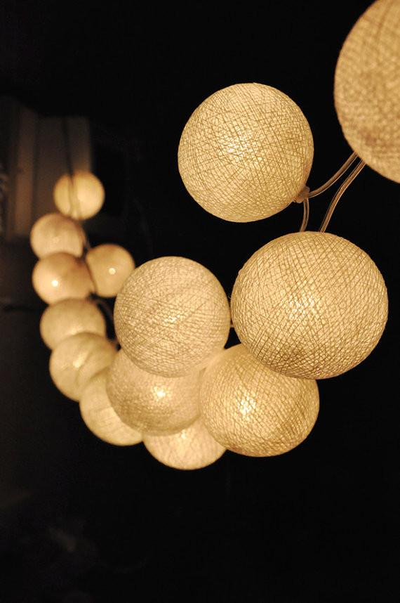 Handmade white cotton ball string lights by ginew contemporary handmade white cotton ball string lights by ginew contemporary outdoor lighting etsy workwithnaturefo