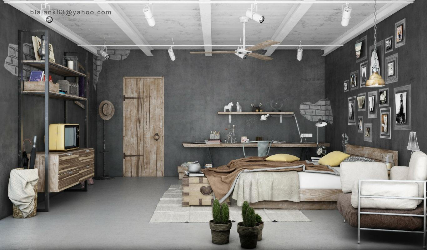 Industrial Bedrooms Interior Design | Interior Decorating, Home Design, Room Ideas