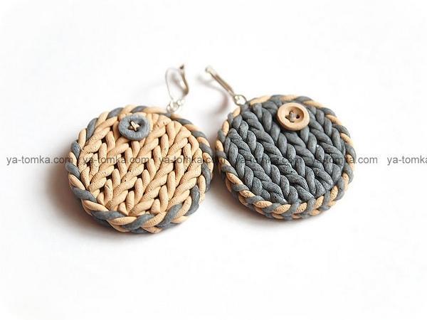 Полимерная глина - Изделия - вязанные серьги
