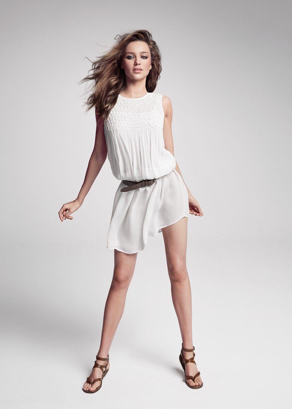 brunettes Miranda Kerr fashion photo shoot white wall ...