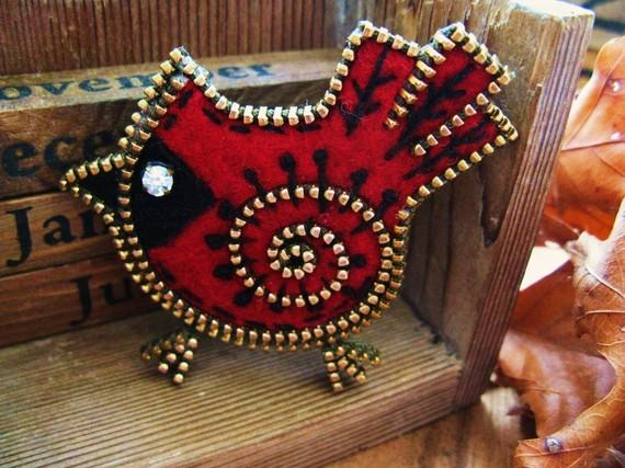 Felt and zipper Cardinal brooch by woollyfabulous on Etsy