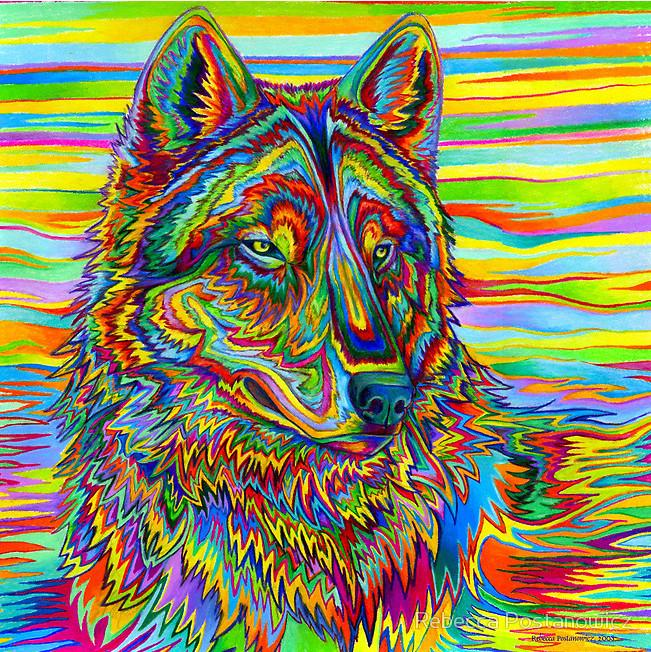 Psychedelic Wolf by ~lioncrusher