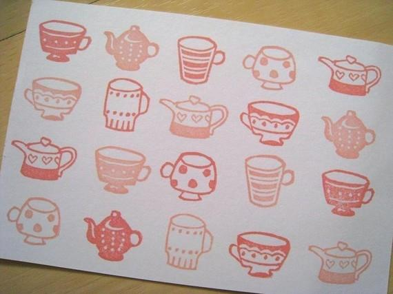 Tea Party Handcarved Rubber Stamps Choose Any 4 par lovesprouts