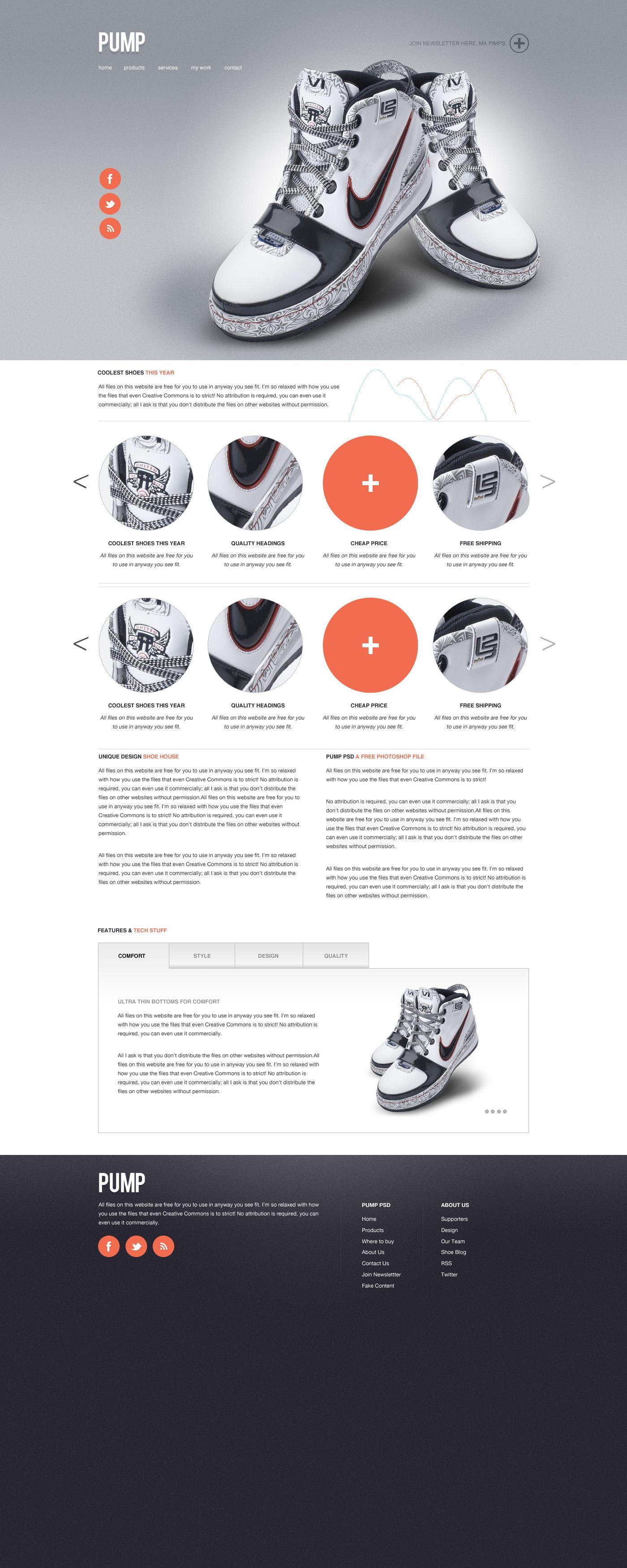 Designer First Pump – Web Template (PSD) - Designer First