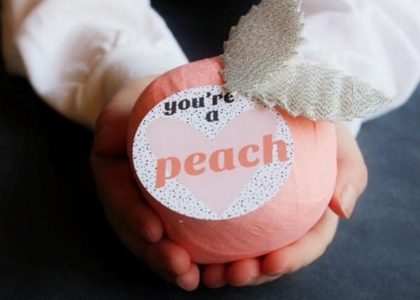 DIY Peach Prize Ball Valentines | The Sweetest Occasion