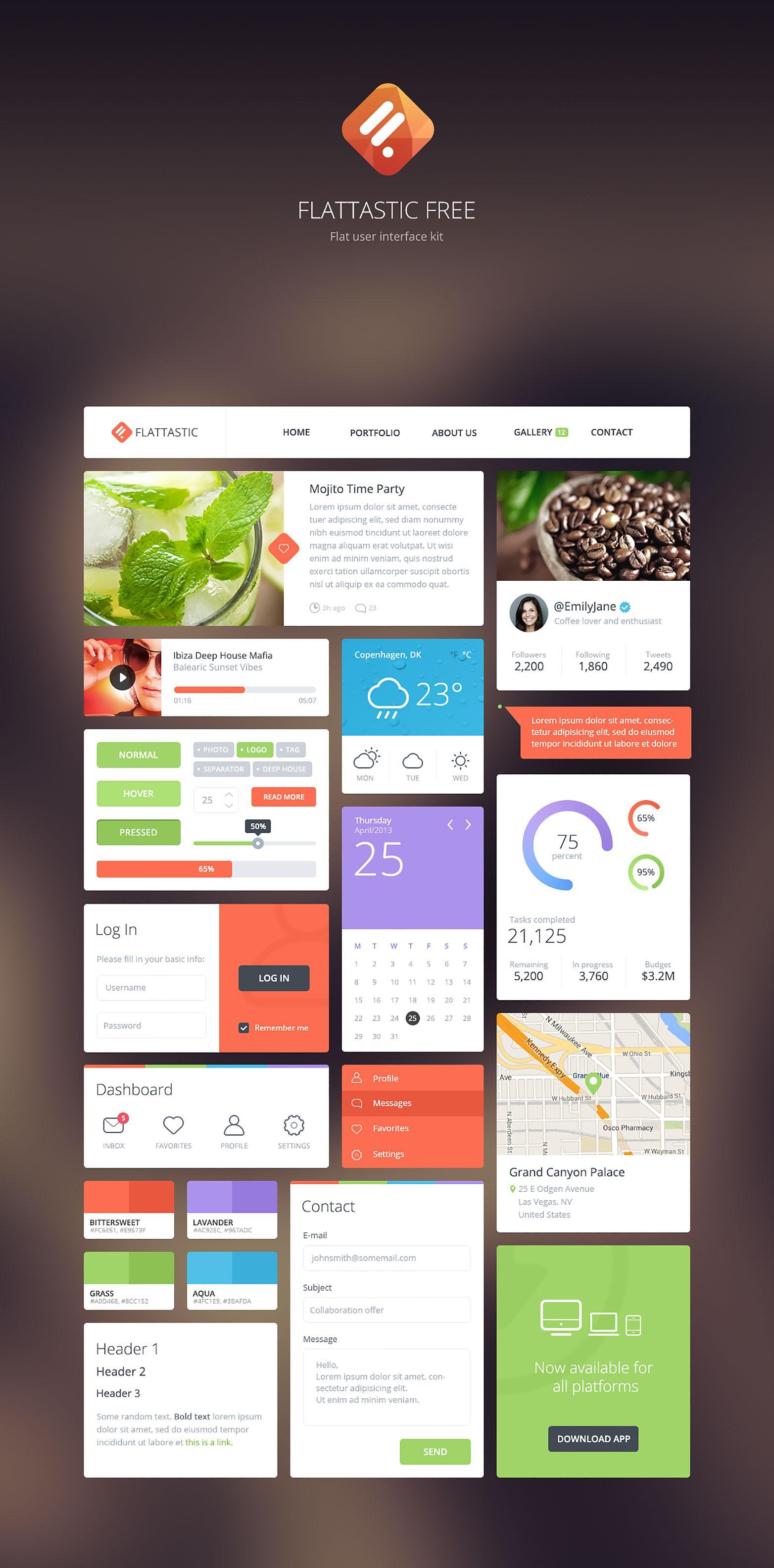 Free Download: Flattastic UI kit | Webdesigner Depot