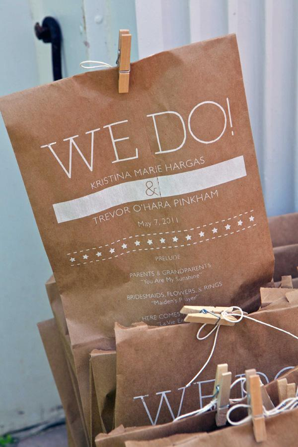 Lunch Sack Wedding Program - FPO: For Print Only
