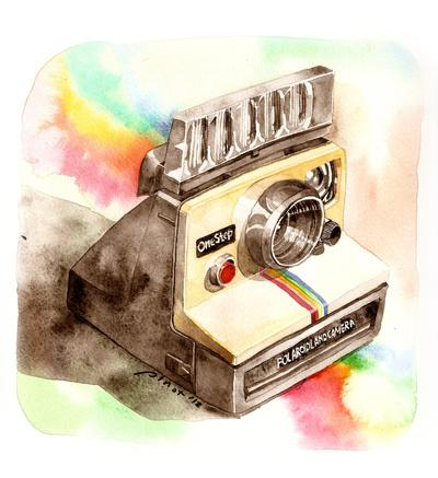 Vintage Polaroid SX-70 OneStep camera Art Print by Pinot | Society6