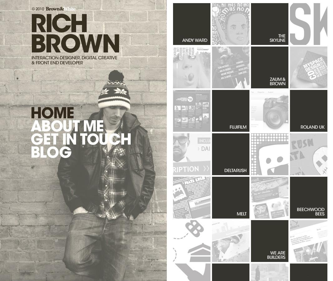 Large Type, Side Aligned Navigation Design for Musician Website of Rich Brown - Pattern Tap