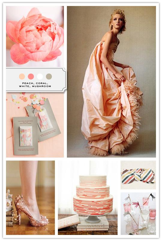 :::: The Inspired Bride™ :::: › Color Palette: Peach, Coral, White, Mushroom