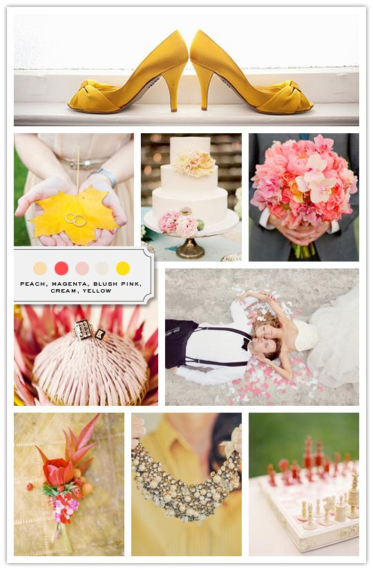 :::: The Inspired Bride™ :::: › Color Palette: Peach, Magenta, Blush Pink, Cream, Yellow