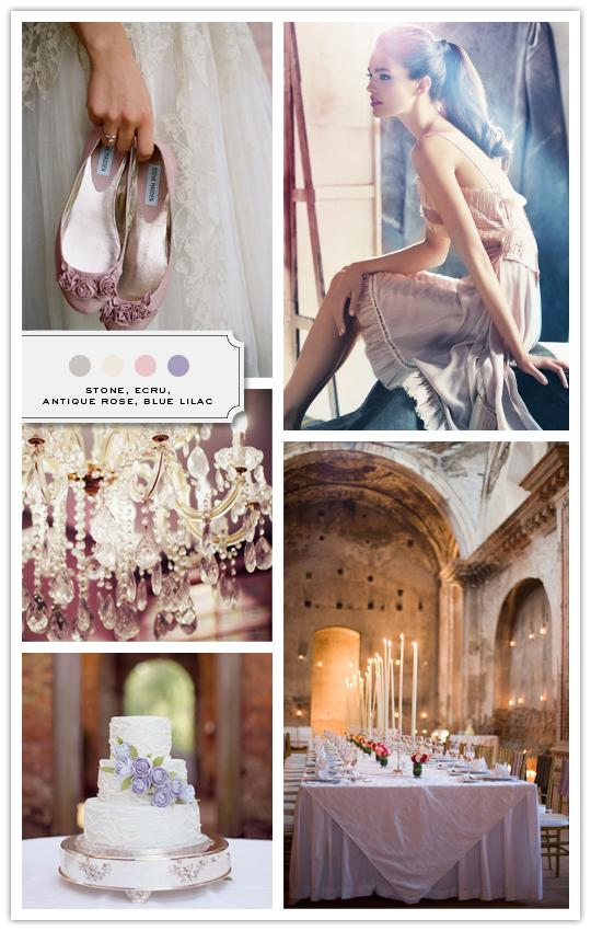 :::: The Inspired Bride™ :::: › Color Palette: Stone, Ecru, Antique Rose, Blue Lilac
