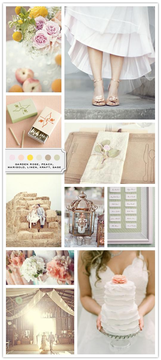 :::: The Inspired Bride™ :::: › Color Palette: Garden Rose, Peach, Marigold, Linen, Kraft, Sage