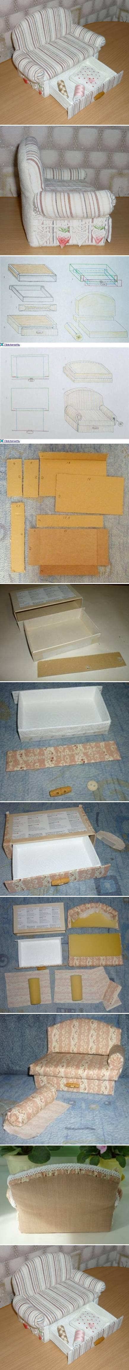 DIY Cardboard Sofa with Drawer DIY Projects | UsefulDIY.com