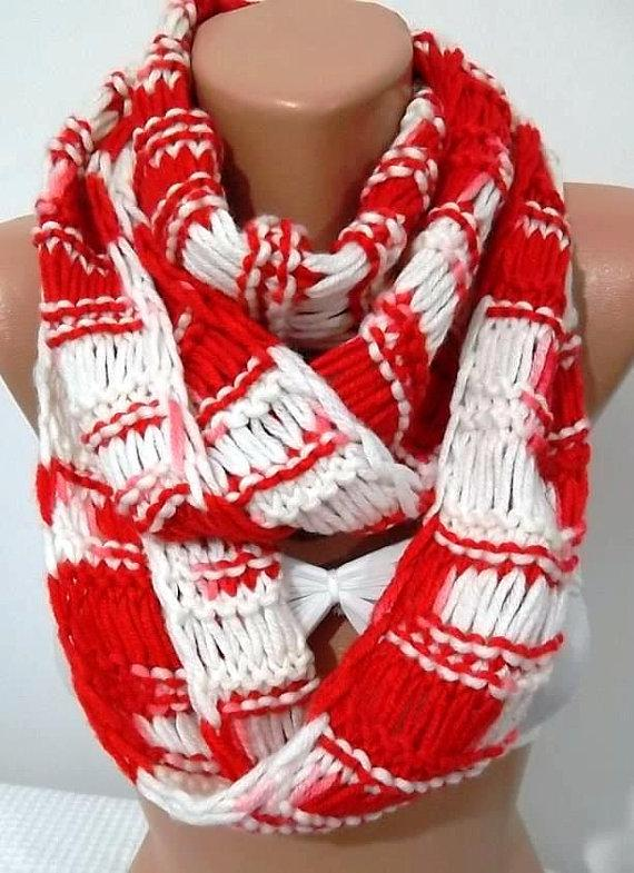 Hand knitted scarf...Red White..Infinity Scarf Loop by womann