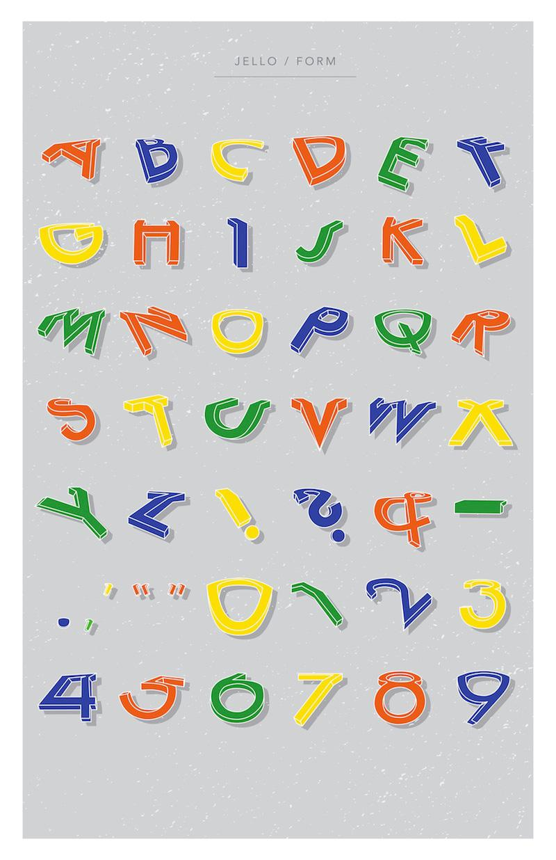 Form, a skewed and distorted (Jell-O inspired?) typeface by Alexis Gallo - The Fox Is Black