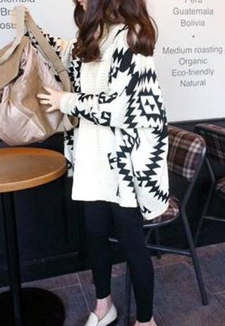 [grhmf260002078]European Style Loose Fitting Geometric Figure Cardigan