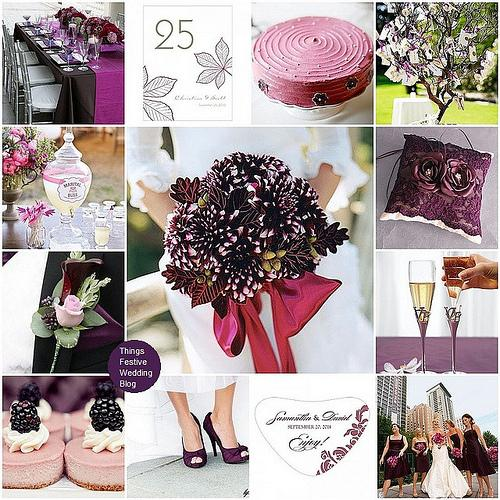 Things Festive Wedding Blog: Pink and Purple Fall Wedding Theme - Raspberry and Aubergine