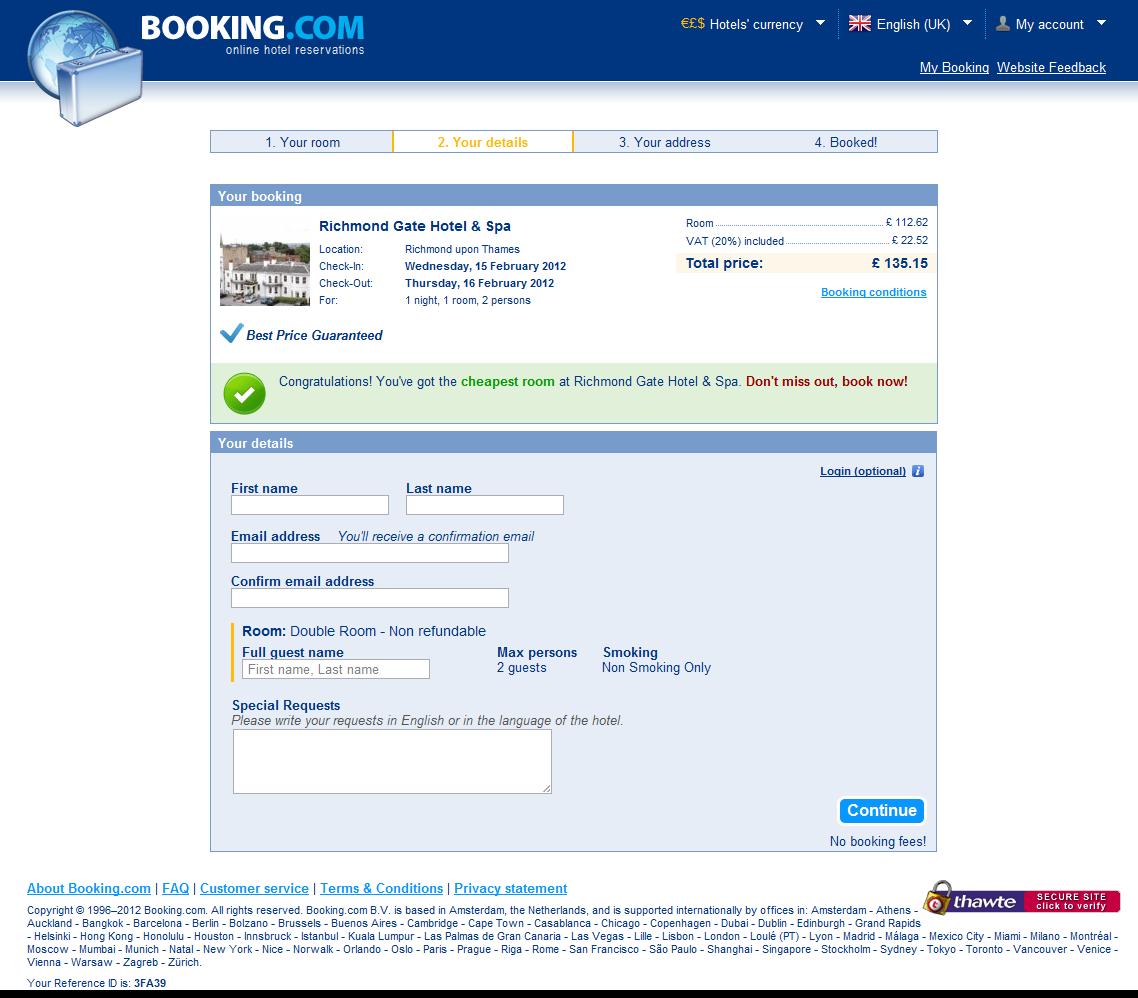 Booking.com: Your details