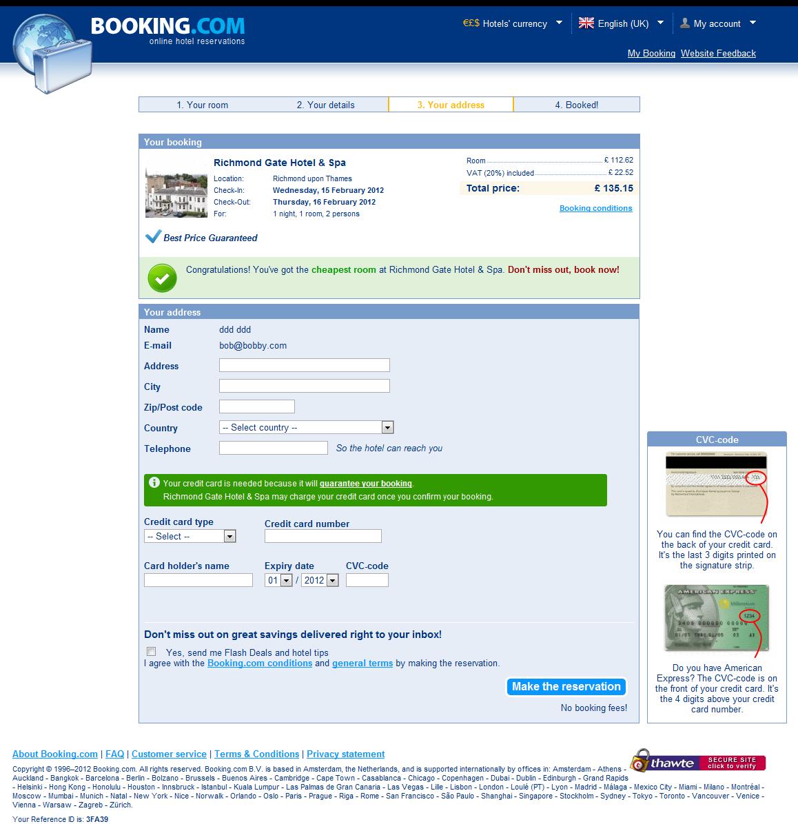 Booking.com: Contact info