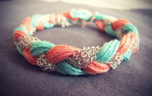 DIY Coral, Sea Green, Rose Chain Bracelet 7-8-12 | kleinlg