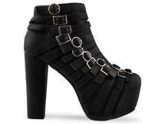 Jeffrey Campbell Wrecker in Black Leather at Solestruck.com